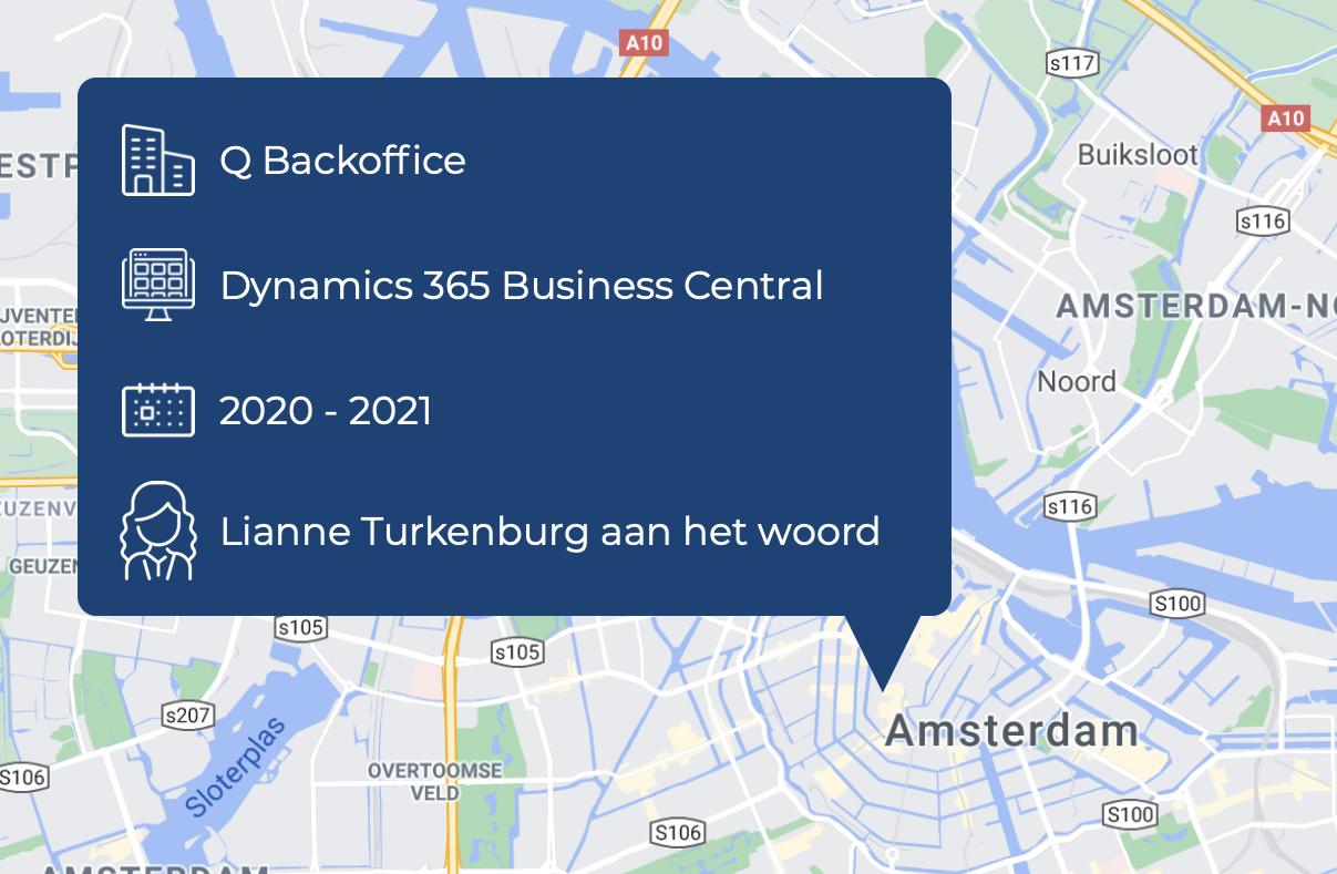 Bedrijfsinformatie van Q Backoffice op een plattegrond van Amsterdam