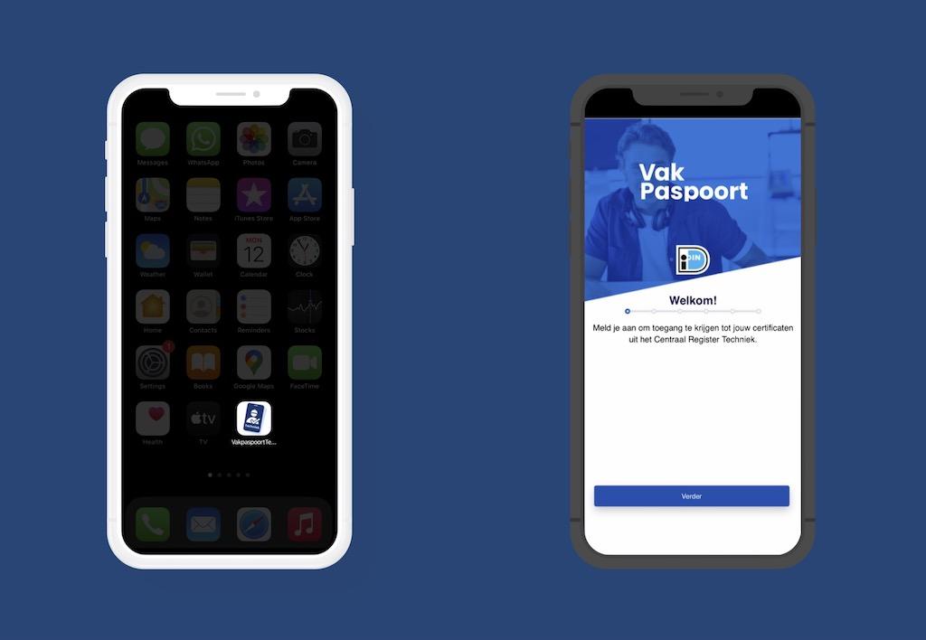 Vakpaspoort app voor de monteur afgebeeld op een smartphone